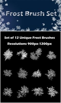 Set of 12 frost brushes. Size varies from 900px to 1200px. Great for adding frozen texture or frozen frames to picture.  Set Conta