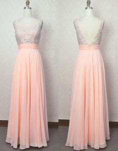 Beaded V-neckline Prom Dresses,Blush Pink Beaded Evening Party Dresses,V-back Beaded Graduation Dresses