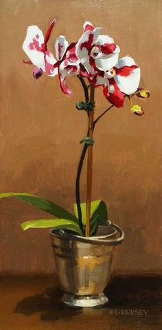 Orchid in Silver by Laurie Kersey Oil ~ 16 x 8