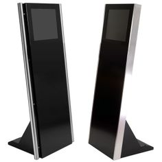"""Information Kiosk Model """"Blade"""" - This innovative kiosk boasts one of our slimmest and sleekest metal cabinets, which can be powder coated to match your requirements. Ideal as an information point, this 19"""" kiosk would be the perfect choice for corporate and hotel venues. The Blade is available with or without a keyboard and aesthetic stainless steel poles and can be graphically branded using high quality vinyl."""