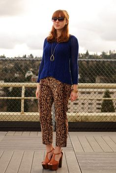 I love everything about this: bangs, blue, leopard, platforms. Yeah!
