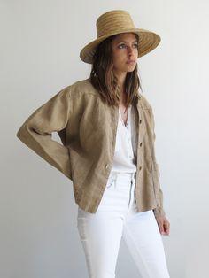 Dust Linen Jacket // Vintage 1990's Minimalist Chore Jacket SOLD
