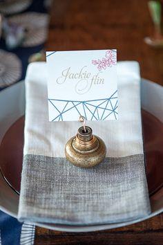 doorknob place card holder, photo by John Dart Photography http://ruffledblog.com/the-notwedding-chicago #weddingideas #placecard #placesetting