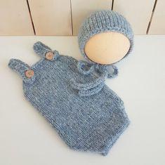 3b8c0c3681e READY Blue baby boy Newborn baby romper with matching bonnet