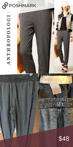 ANTHROPOLOGIE Bordeaux Dark Gray Sweats Beautiful, soft, comfortable, and casual sweat pant joggers from anthropologie! Intricate faux leather piping with tiny laser cut detailing! Worn twice. Like new. ORIGINALLY $128. Place offer! Anthropologie Pants Track Pants & Joggers