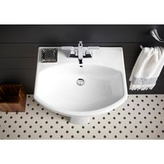 Provide a stylish and luxurious addition to your kitchen space with this KOHLER Elmbrook Pedestal Sink Basin in White with Centerset Faucet Holes. Mid Century Rustic, Pedestal Sink, Bathroom Styling, Small Bathroom, Bathroom Ideas, Bathrooms, Home Renovation, Basin, Contemporary Design