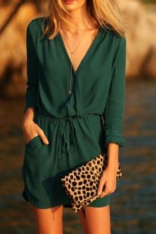 Green V Neck Long Sleeve Dress