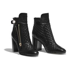 Explore the newest Short Boots on the CHANEL website, featuring the latest styles and looks, made with the quality craftsmanship of the House of Chanel. Womens Shoes Wedges, Womens High Heels, Chanel Boots, Chanel Heels, Pretty Shoes, Luxury Shoes, Short Boots, Shoe Collection, Women's Shoes Sandals