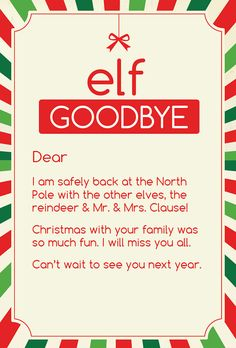 Magic Elf Goodbye Note by CleverPrintables on Etsy