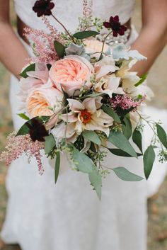 Charleston Weddings - Legare Waring House - CarolineRo Photography, Mimi Nicole, Ashley Nicole Events - Lowcountry - bouquet of garden roses and dhalias