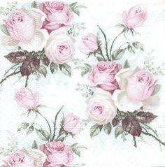 3 Serviettes papier Cocktail Roses anglaises Paper Napkins English Sagen Vintage