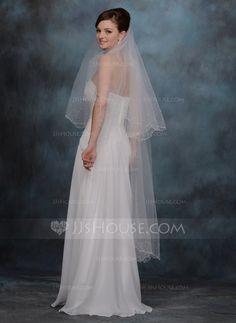 Een-rij Wals Bruids Sluiers met Geschulpte Rand (006020465)