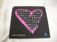 """Large Hot Pink Heart on Black Peace Friendship Wall Art Sign Girls Bedroom by The Little Store Of Home Decor. $14.99. made in the USA. size 13x13. We've sealed this Hot Pink heart print onto wood giving it a framed appearance. The background wood is painted black and it measures approximately 13"""" squared by 1/4"""" thick (wood dimensions not including hanger). We've added a white ribbon for easy hanging and added charm. Save 25%!"""