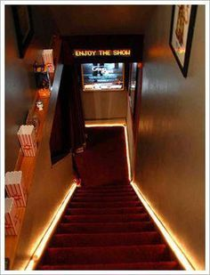 steps down to a home theater are lined with concessions, carpeted thematically, . - steps down to a home theater are lined with concessions, carpeted thematically, and lit. Theater Room Decor, Movie Theater Rooms, Home Theater Seating, Home Theater Design, Movie Theater Basement, Movie Rooms, Theatre Rooms, Small Movie Room, Home Theatre