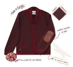 """Pulls et cardigans made in Europe, laine de luxe Italienne """"Baruffa"""" Cardigan Vendome http://www.bleucommegris.com/fr/product/garcon/maille/"""
