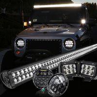 "Jeep JK Pack 7 07 - 2016 52"" light bar / LED MVP headlights / 2 pods and all brackets"