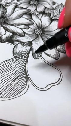 Music Drawings, Cool Art Drawings, Pencil Drawings Of Flowers, Flower Sketches, Pencil Art Drawings, Zen Doodle, Doodle Art, Mini Canvas Art, Flower Coloring Pages