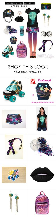 Roller Derby clothes | Fri-yay Fashion: Space Cadet by Bout Betties on Polyvore featuring Current Mood, Liz Larios, Riedell, Lime Crime