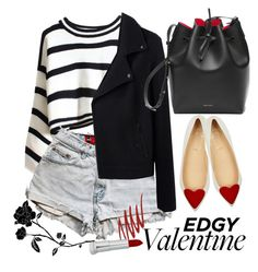 """""""edgy valentine"""" by maria-maldonado ❤ liked on Polyvore featuring Christian Louboutin, Levi's, NARS Cosmetics, rag & bone, edgyvalentine and 60secondstyle"""