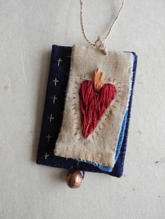 Sacred heart necklace, scapular, exvoto, fiber art jewelry,