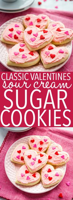 These Classic Sour Cream Sugar Cookies are the perfect old fashioned treat! With simple instructions for the perfect soft & chewy sugar cookies every time! Recipe from thebusybaker.ca! #valentinesday #sugarcookies #cookies #homemade #sourcream #easyrecipe #dessert #hearts #heartcookies #cookiecutters via @busybakerblog Sour Cream Sugar Cookies, Chewy Sugar Cookies, Brownie Cookies, Chocolate Chip Cookies, Best Cookie Recipes, Favorite Cookie Recipe, Baking Recipes, Holiday Recipes, Holiday Foods