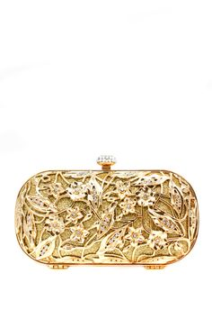 Ana Maria Minaudiere  Gold Floral Vine Minaudiere with Crystal Pavee Clasp