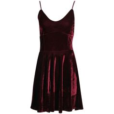 Tate Velvet Strappy Fit And Flare Dress ($3.02) ❤ liked on Polyvore featuring dresses, red cocktail dress and red dress