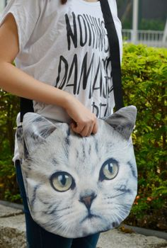 Gift for Teens:  Cat Cross Body Tote Bag by Ben Wine Win @ Etsy