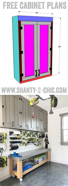 Build your own shaker style cabinet with free plans from www.shanty-2-chic.com DIY shop cabinets perfect for garage, work shop or craft room! via @shanty2chic