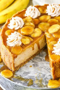 Made with a thick and creamy banana brown sugar filling, cinnamon cookie crumb crust and bananas foster topping! It's a wonderful combination of bananas, cinnamon, brown sugar and rum that makes the most AMAZING cheesecake! Banana Foster Cheesecake Recipe, Cheesecake Recipes, Dessert Recipes, Cheesecake Squares, Chocolate Cheesecake, Banana Cream Cheesecake, Cheesecake Cake, Chocolate Cake, Food Cakes