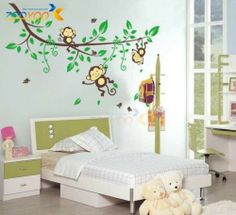 Wall Stickers Kid Nursery Room Decor Decals Palm Tree Vines Monkies DIY LXL | eBay