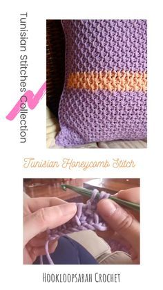 Learn the unique Tunisian Honeycomb stitch to create this wonderful pillow cover in bicolour! Tunisian Crochet Patterns, Tunisian Crochet Blanket, Crochet Stitches Free, Macrame Patterns, Honeycomb Stitch, Honeycomb Pattern, Pillowcase Pattern, Pillowcase Tutorial, Free Baby Blanket Patterns