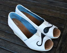 Mustache TOMS Ivory Grosgrain Wedges by BStreetShoes on Etsy