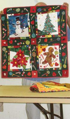 Original four block Christmas quilt