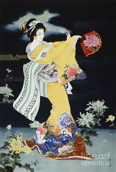 Haruyo Morita Poster Print Wall Art Print entitled Matsuri, None Japanese Drawings, Japanese Prints, Japanese Kimono, Japanese Lady, Japanese Painting, Chinese Painting, Chinese Art, Art Geisha, Art Chinois