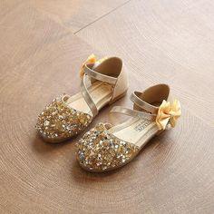 2019 Children Princess Glitter Sandals Kids Girls Soft Shoes Square Low- heeled 88eaade2b533