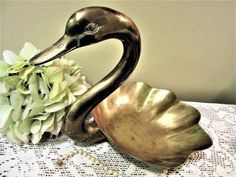 Swan Large Brass Figurine Home Decor Collectibles Decorative Bathroom Vintage by PorcelainChinaArt on Etsy