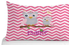Pink Spring Pillow Case Chevron Pattern Pillow by Kids Pillows, Animal Pillows, Kids Bedroom, Bedroom Decor, Personalized Pillow Cases, Owl Pillow, Chevron, Pillow Covers, Creative