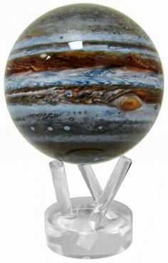 "MOVA Planet - Jupiter, 4.5"" The globe turns peacefully on its own, using only the energy of room light and the forces of Earth's magnetic field to simulate perpetual motion. Each globe turns autonomously, whether on a stand or in the palm of your hand. No batteries or power cords are required. http://naturalsciences.org/museum-store/featured-products $140"