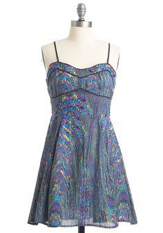 Swirl of My Dreams Dress by Jack by BB Dakota - Mid-length, Multi, Print, A-line, Spaghetti Straps, Blue, Party, Yellow, Purple, Black, Trim