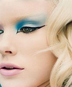 Blue eyeshadow - Winged liner, eye makeup, dramatic, green eyes, nude lip