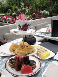 """Sanderson Hotel's """"Mad hatter's tea party"""" afternoon tea. Unusual, and amazing!"""