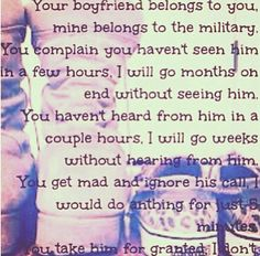 For all army girlfriends I don't want to bother. I just need some advices or tips to help me going trough all of this. Nobody here supports me or understands me and some days I just fall apart. I can't sleep, I can't dream... Am I going crazy??? Usmc Love, Marine Love, Navy Girlfriend Quotes, Military Girlfriend Marine, Military Man, National Guard Girlfriend, Army Boyfriend, Air Force Girlfriend, Military Spouse