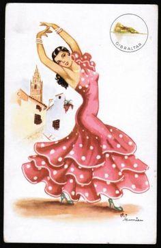 Gibraltar Spanish Dancer, Spanish Art, Dance Themes, Ballerina Art, Chicano Art, Folk, Dance Art, Vintage Cards, Unique Art