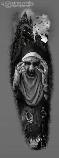 Heart Tattoo Designs, Skull Tattoo Design, Tattoo Sleeve Designs, Evil Tattoos, Skull Tattoos, Leg Tattoos, Art Vampire, Vampire Knight, Dark Artwork