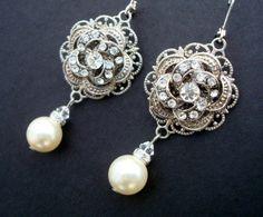 Ivory or White Pearl, Bridal Wedding Earrings, Rhinestone Wedding Bridal Earrings, Rose Chandeliers, Pearl Drops, Pearl, Filigree, ROSELANI. $36.00, via Etsy.