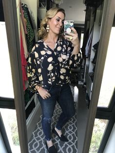 #makeup #earrings #floral #blouse #jeans #ripped #flats #wavy #hair #nailpolish #ring #gold #imageconsultant #stylist #personalshopper #motivationalspeaker #saimage