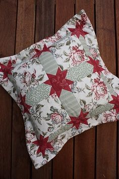 Pretty Quilted Patchwork Floral and Flanged Pillow might try this with left over curtain fabric