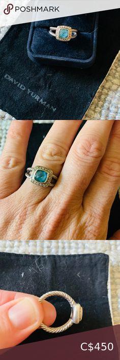 David Yurman Petite Albion size BLUE TOPAZ Blue topaz semi precious stone with little diamonds around. Womens Jewelry Rings, Women Jewelry, David Yurman, Blue Topaz, Diamonds, Fashion Tips, Fashion Trends, Stone, Classic