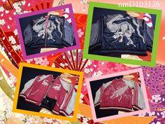 SUKAJAN reversible rayon jacket (japanese M) Dragon Carp Mt FUJI Happy wear JP # #FlightBomber